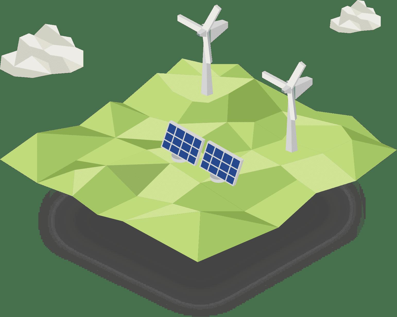 Groene energie, wind energie, zonnen energie